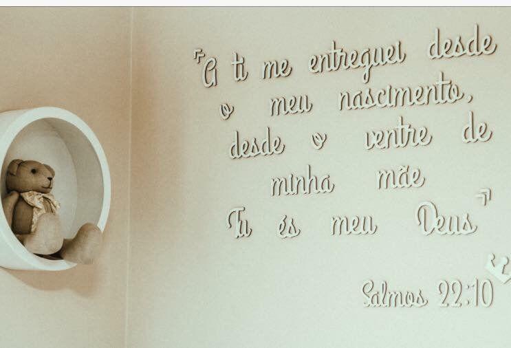 Frase bíblica em MDF branco 2m - Salmos 22:10