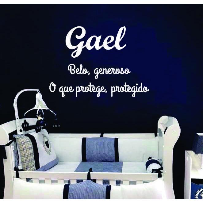 GAEL - Nome + Frase decorativa em MDF 1,5m Significado do Nome
