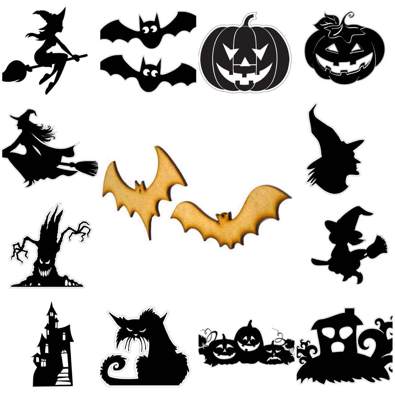 kit 12 Apliques variados Halloween com furos laterais para varal ou decorações em geral - 15cm cada
