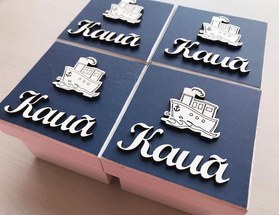 Kit 20 caixinhas personalizadas Navio Marinheiro Mdf 6cm (R$ 4,90 cada)