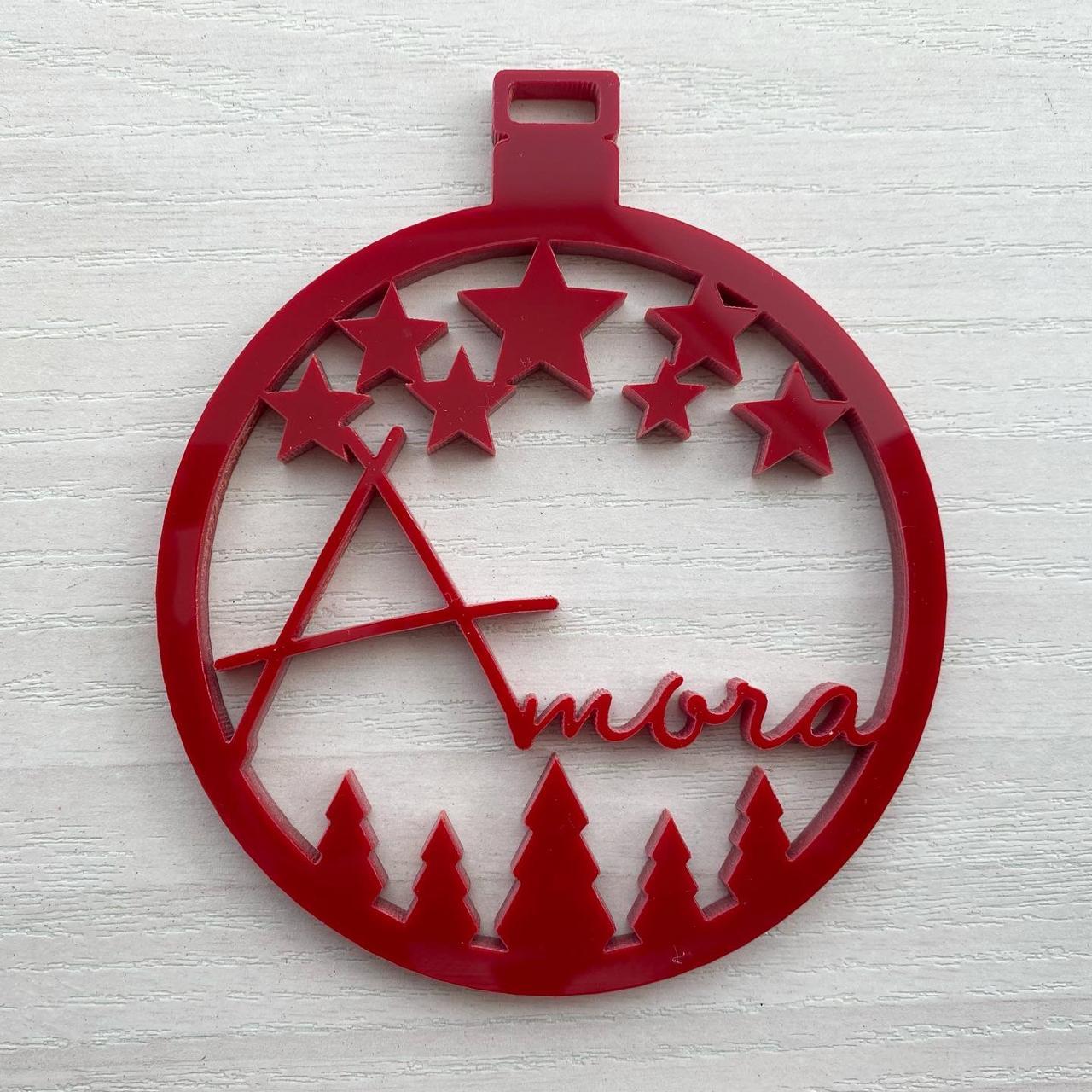 Kit 2 Bola de Natal Personalizada em Acrílico Vermelho 9cm