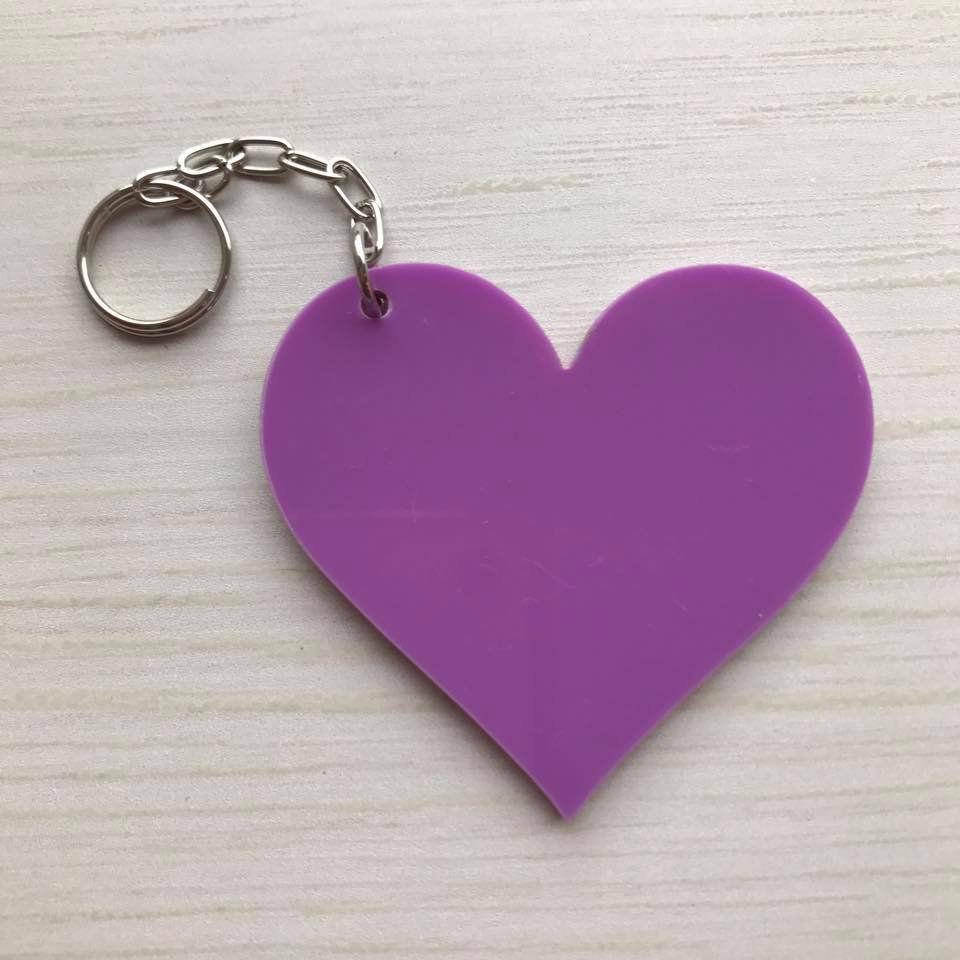 REF. 084 - Chaveiro Coração ACRÍLICO COLORIDO Personalizado