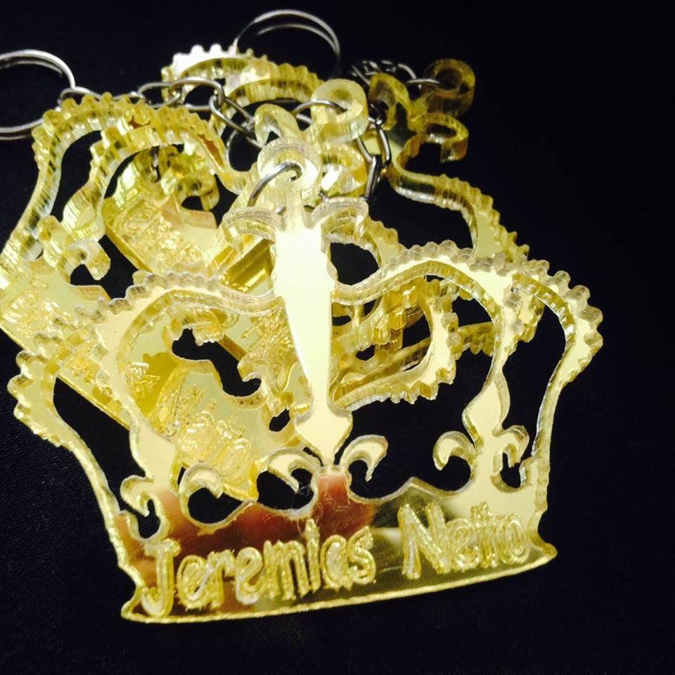 Chaveiro Coroa Príncipe ou Princesa Personalizado ACRÍLICO ESPELHADO Prata ou Dourado