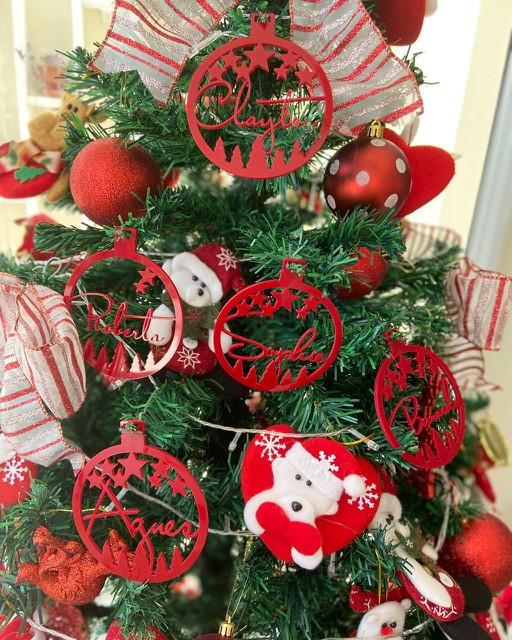 Kit 6 Bola de Natal Personalizada em Acrílico Vermelho 9cm