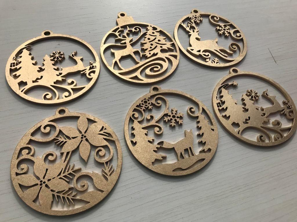 kIT 6 Bolas Árvore de Natal MDF