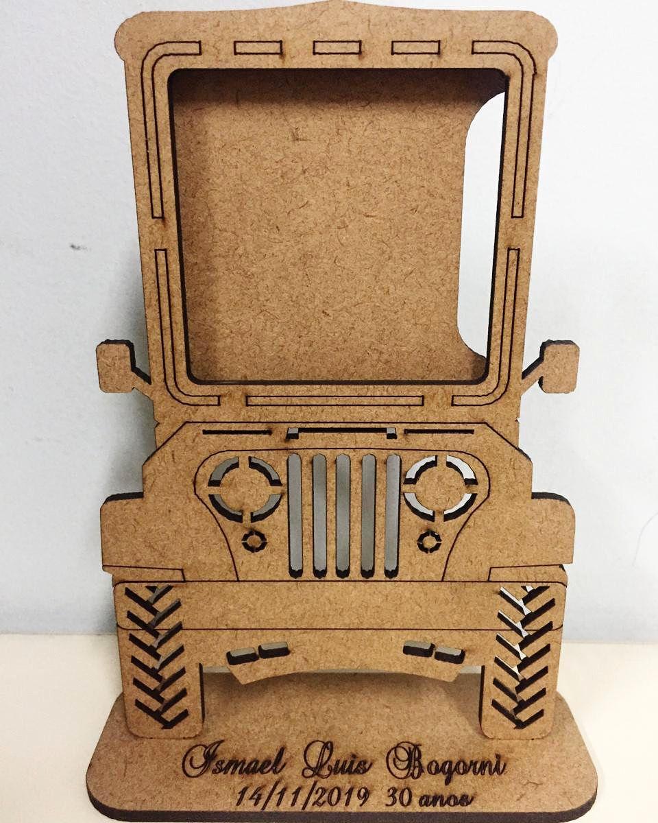 Kit Centros de Mesa 20cm Porta Retrato Jipe MDF CRU