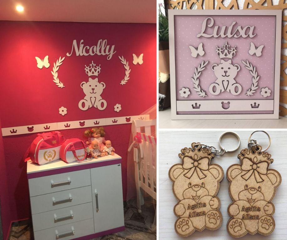 Kit Combo Ursa Princesa Lacinho: Painel de Parede Completo MDF Branco + Quadro Maternidade + 50 Chaveiros