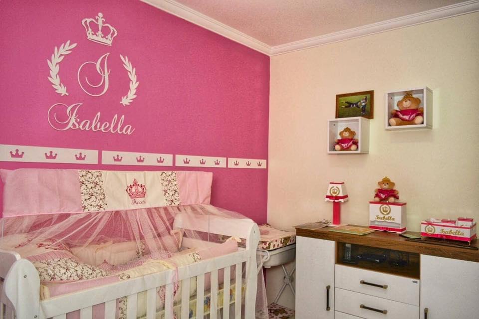 Kit Completo MDF Coroa Inicial + Nome Decoração Quarto do Bebê