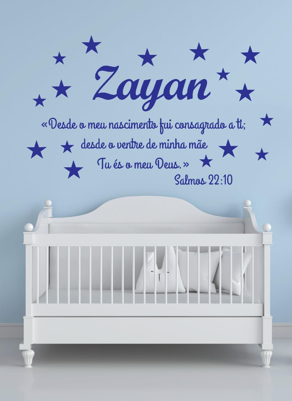 Kit Frase Bíblica Salmos 22.10 + Nome do Bebê + estrelas Decoração