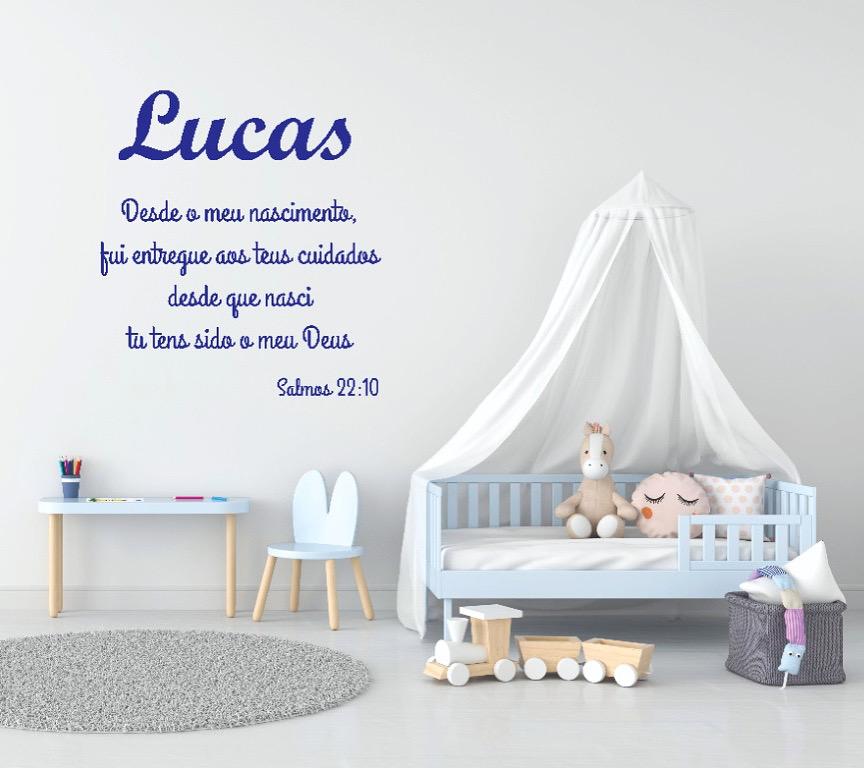 Kit Frase Nova Versão Salmos 22.10 Personalizada + Nome do Bebê Decoração