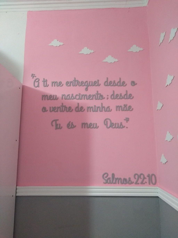 Kit Frase Salmos 22.10 Personalizada + Nome do Bebê Decoração