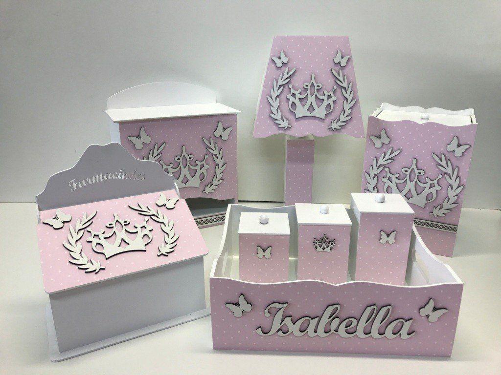 Kit Higiene 8 Peças Coroa Princesa Personalizado