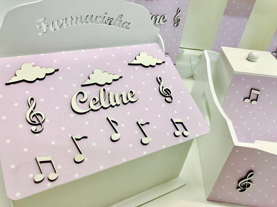 Kit Higiene 8 Peças Notas Musicais Personalizado