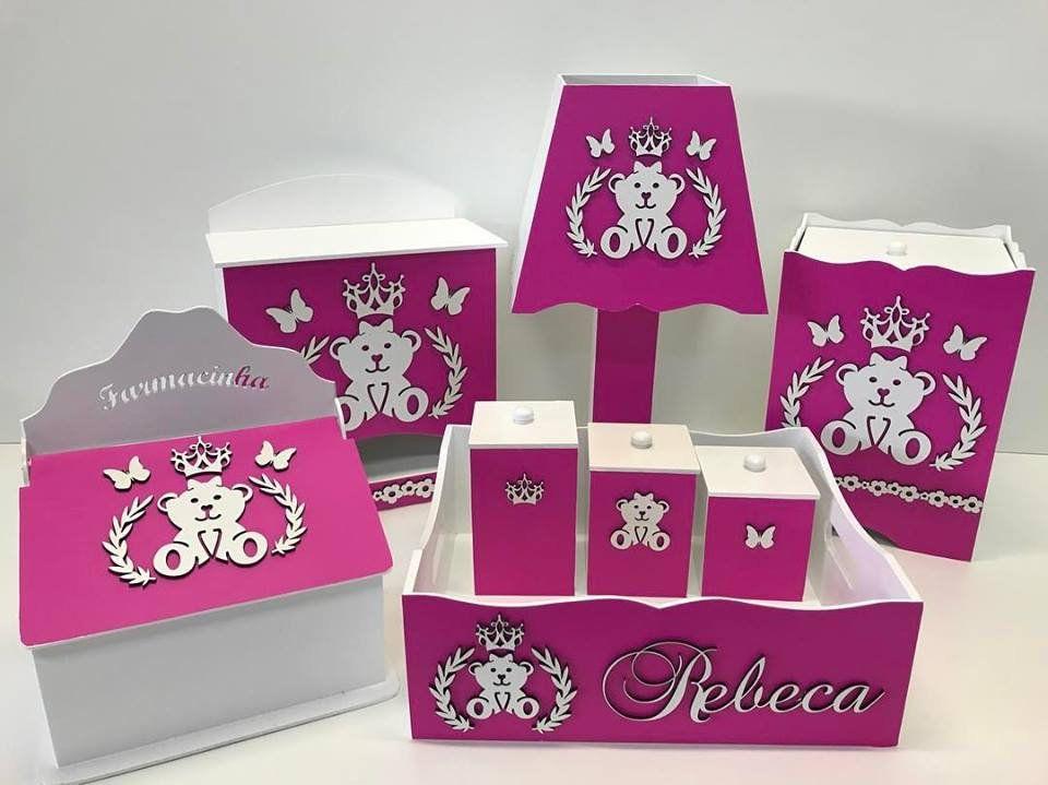 Kit Higiene 8 Peças Ursa Princesa Lacinho Personalizado
