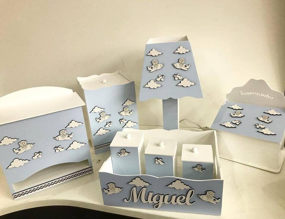 0348c6ff3 Kit Higiene 8 Peças Ursinho Aviador Personalizado - Rosa Baby Decorações  para o Quarto do Bebê