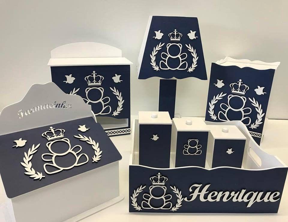 Kit Higiene 8 Peças Urso Príncipe Personalizado