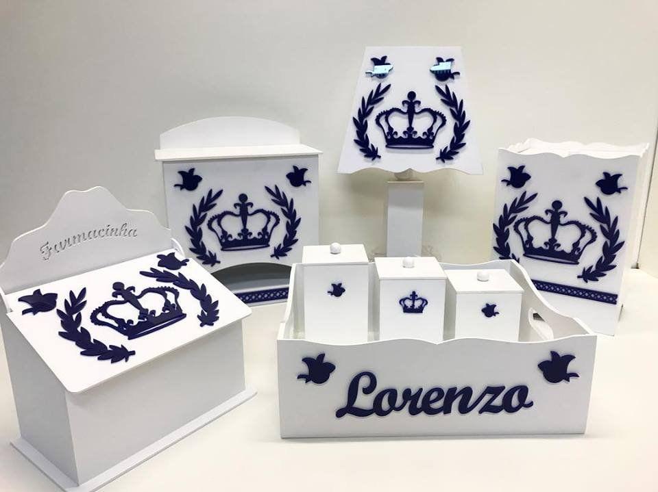 Kit Higiene Branco Apliques de Acrílico Colorido 8 Peças Coroa Príncipe/Princesa Personalizado