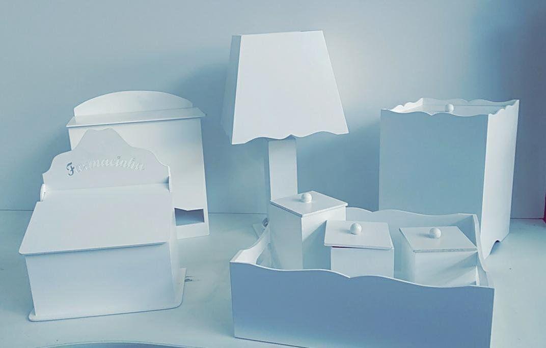Kit Higiene MDF Branco 8 peças