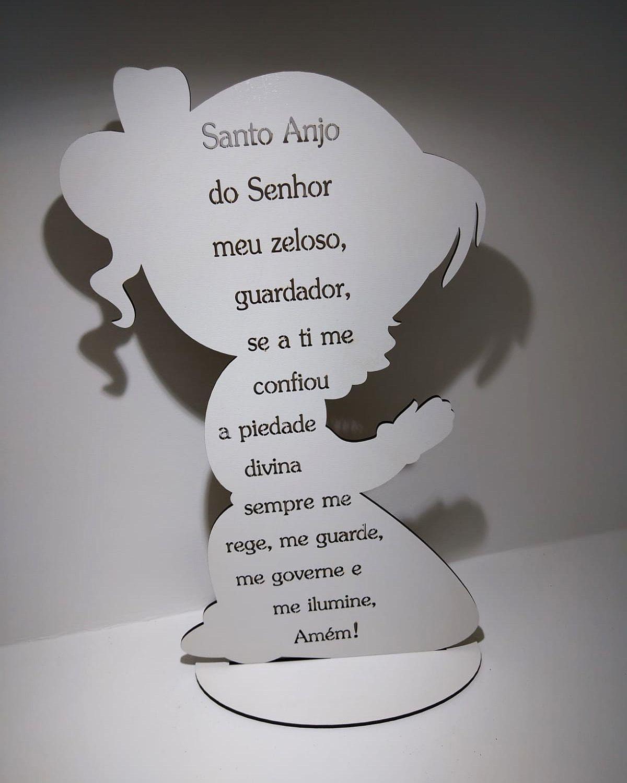 Kit Lembrancinhas de Mesa menina com Oração Santo Anjo MDF BRANCO