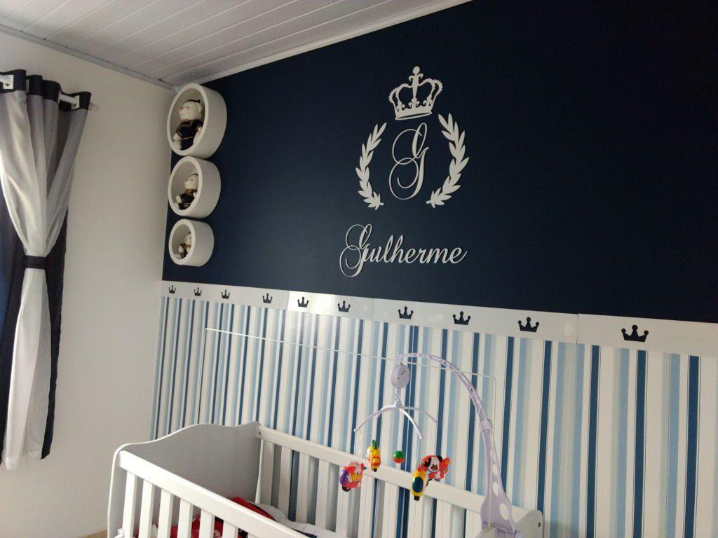 Kit MDF Coroa Inicial + Nome MDF Decoração Quarto do Bebê