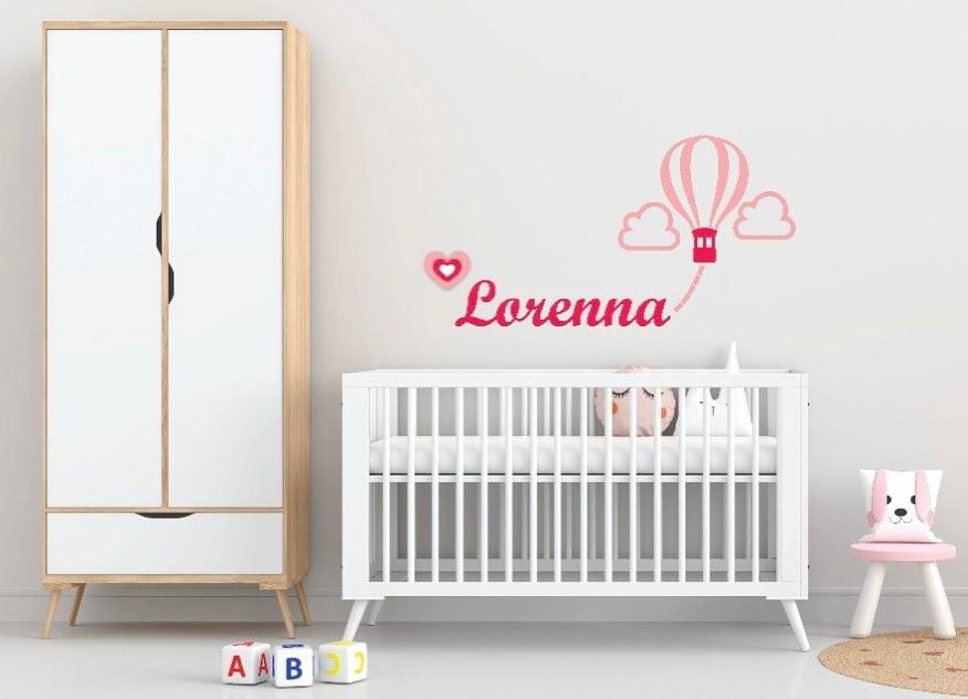 Kit Painel de Parede 15 Peças Balão com Nome Decoração Quarto do Bebê