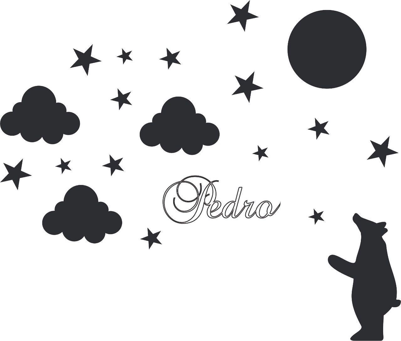 Kit Painel de Parede 20 peças Urso Estrelas Personalizado Decoração Quarto do Bebê