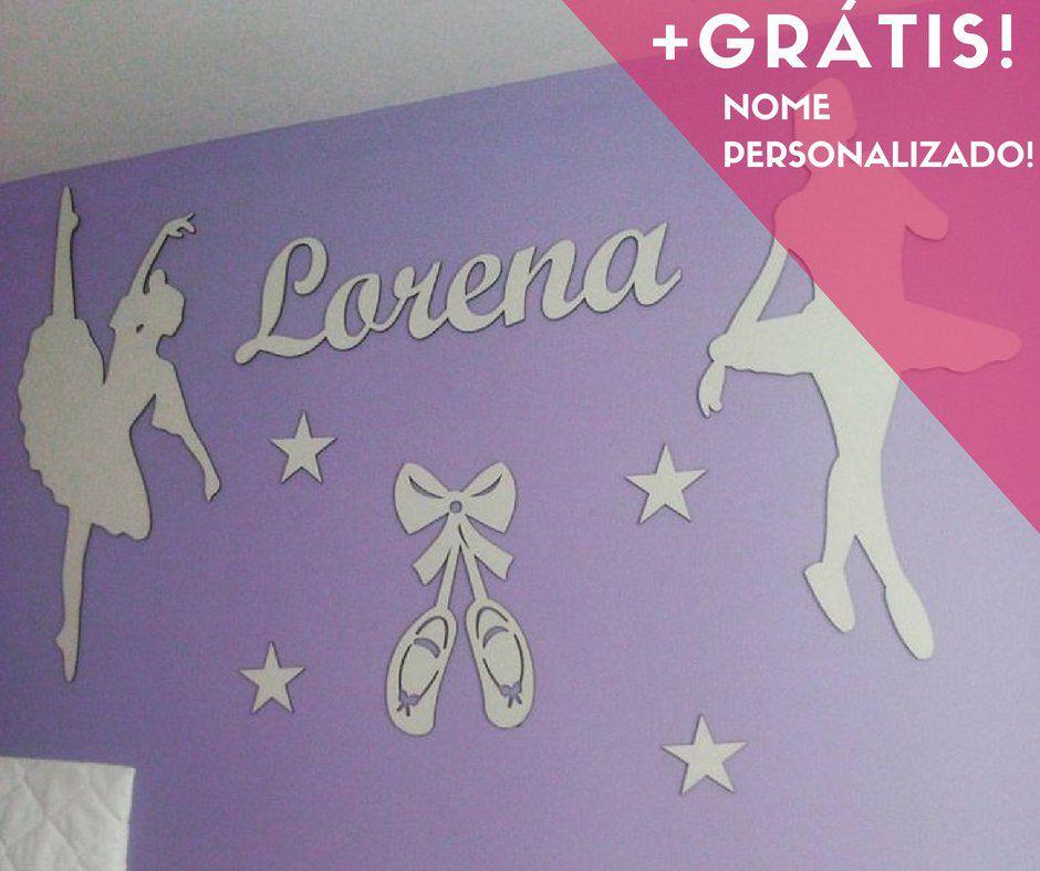 Kit Painel de Parede Bailarinas Estrelas Personalizado MDF BRANCO