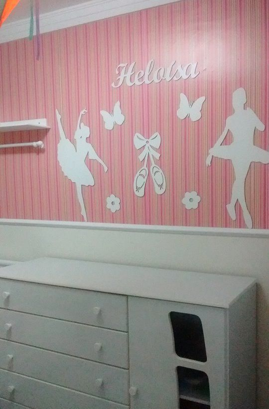 Kit Painel de Parede Completo Bailarinas Personalizado Decoração Quarto do Bebê