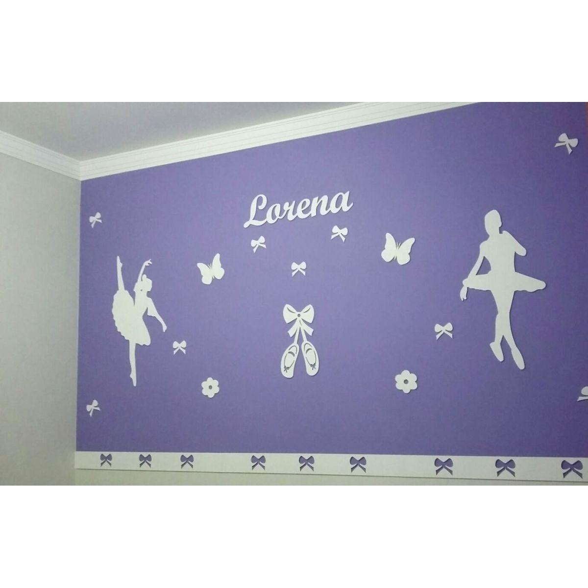 Kit Painel de Parede Completo 14 Peças Bailarinas Personalizado Decoração Quarto do Bebê