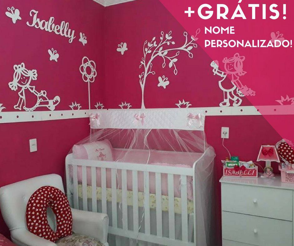 Kit Painel de Parede Completo Bonecas 2 com Flor Alta Personalizado MDF Decoração Quarto do Bebê