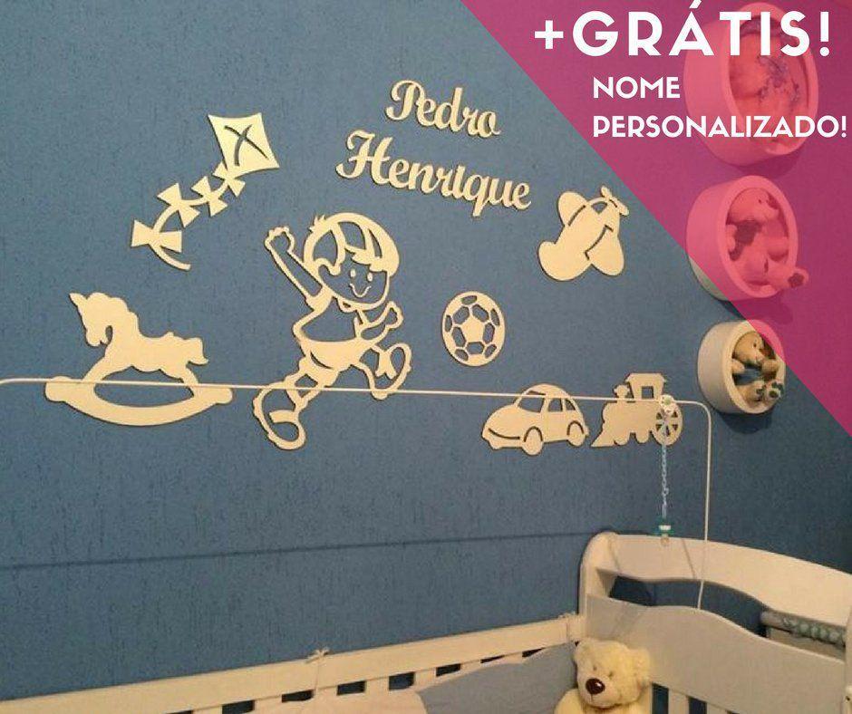 Kit Painel de Parede Completo Brinquedos Personalizado Decoração Quarto do Bebê