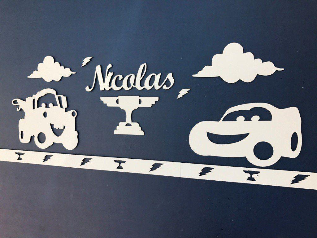 Kit Painel de Parede Completo Carros Personalizado Decoração Quarto Infantil