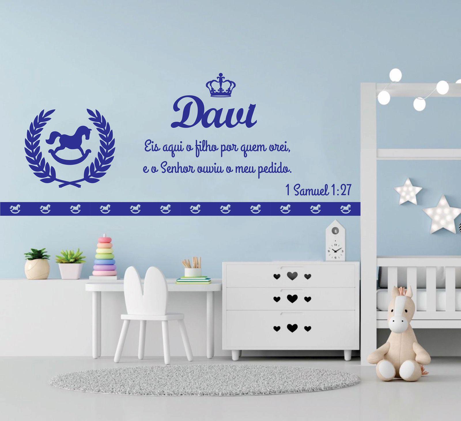 Kit Painel de Parede Cavalinho de Balanço com Frase Bíblica Decoração Quarto do Bebê