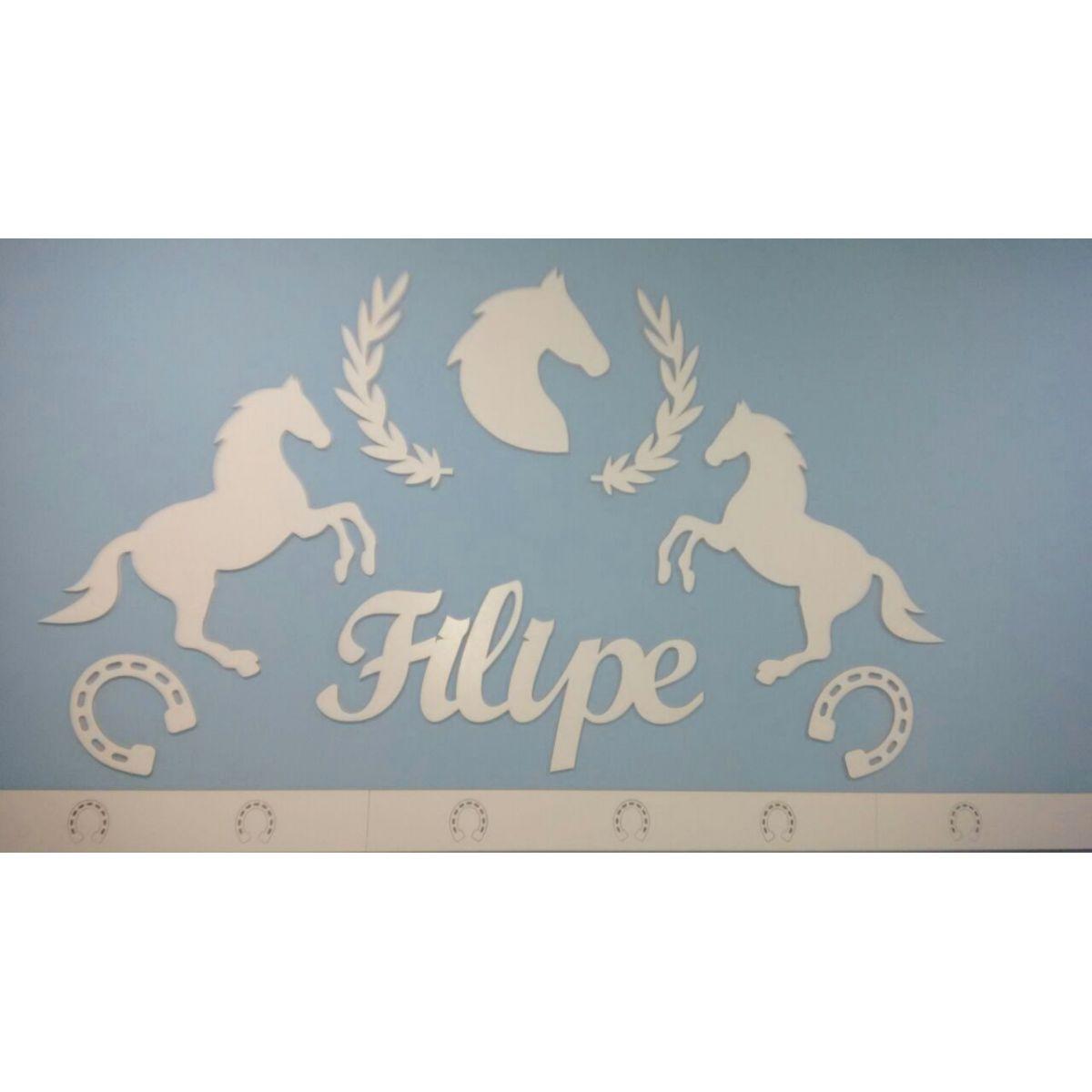 Kit Painel de Parede Cavalos Country MDF BRANCO