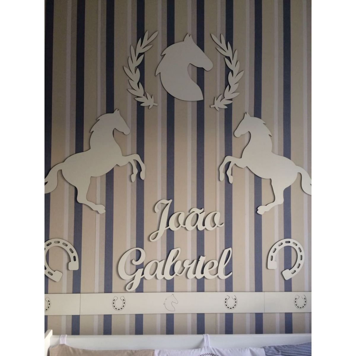 Kit Painel de Parede Completo Cavalos Country Decoração Quarto do Bebê