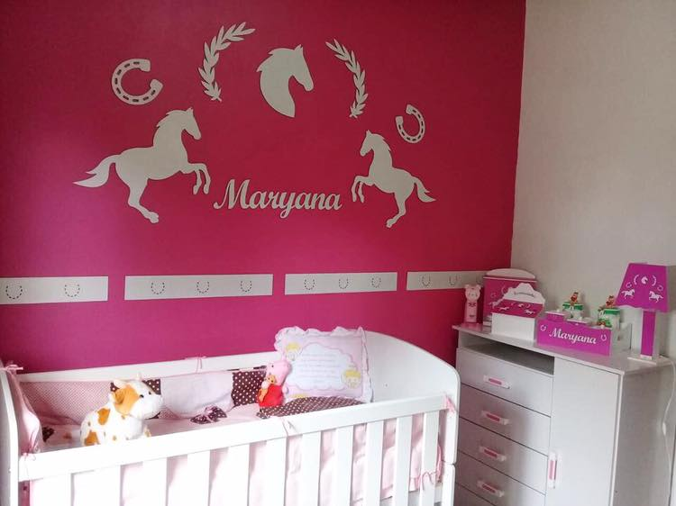 Kit Painel de Parede Completo 12 peças Cavalos Country Decoração Quarto do Bebê