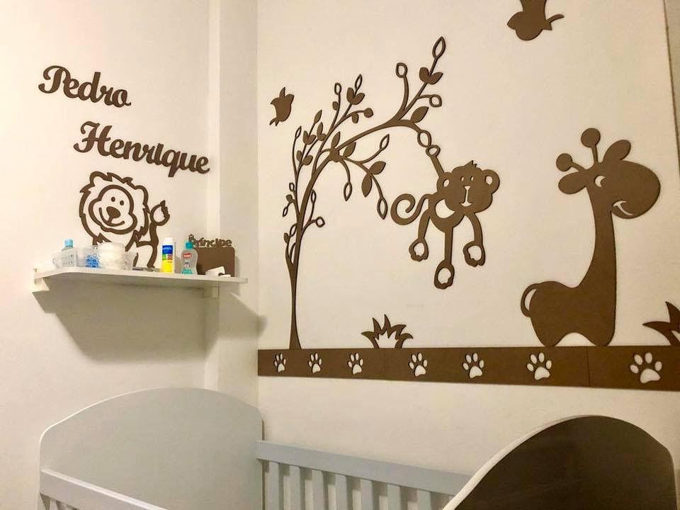 Kit Painel de Parede Completo 13 peças Safári 3 Bichos Personalizado Decoração Quarto do Bebê
