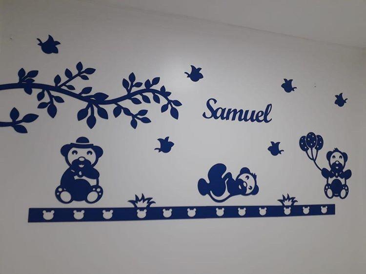 Kit Painel de Parede Completo 14 peças Novos Ursinhos com Folhagem Personalizado Decoração Quarto do Bebê