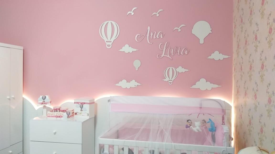 Kit Painel de Parede Completo 15 Peças Balões e Nuvens Personalizado Decoração Quarto do Bebê