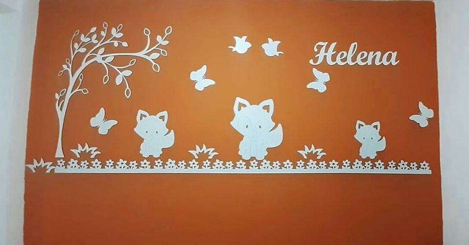 Kit Painel de Parede Completo 15 peças Raposas  Personalizado Decoração Quarto do Bebê