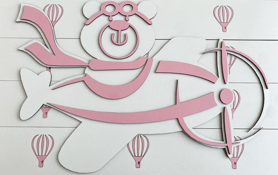 Kit Painel de Parede Completo 20 peças Ursa Aviadora Personalizado Decoração Quarto do Bebê
