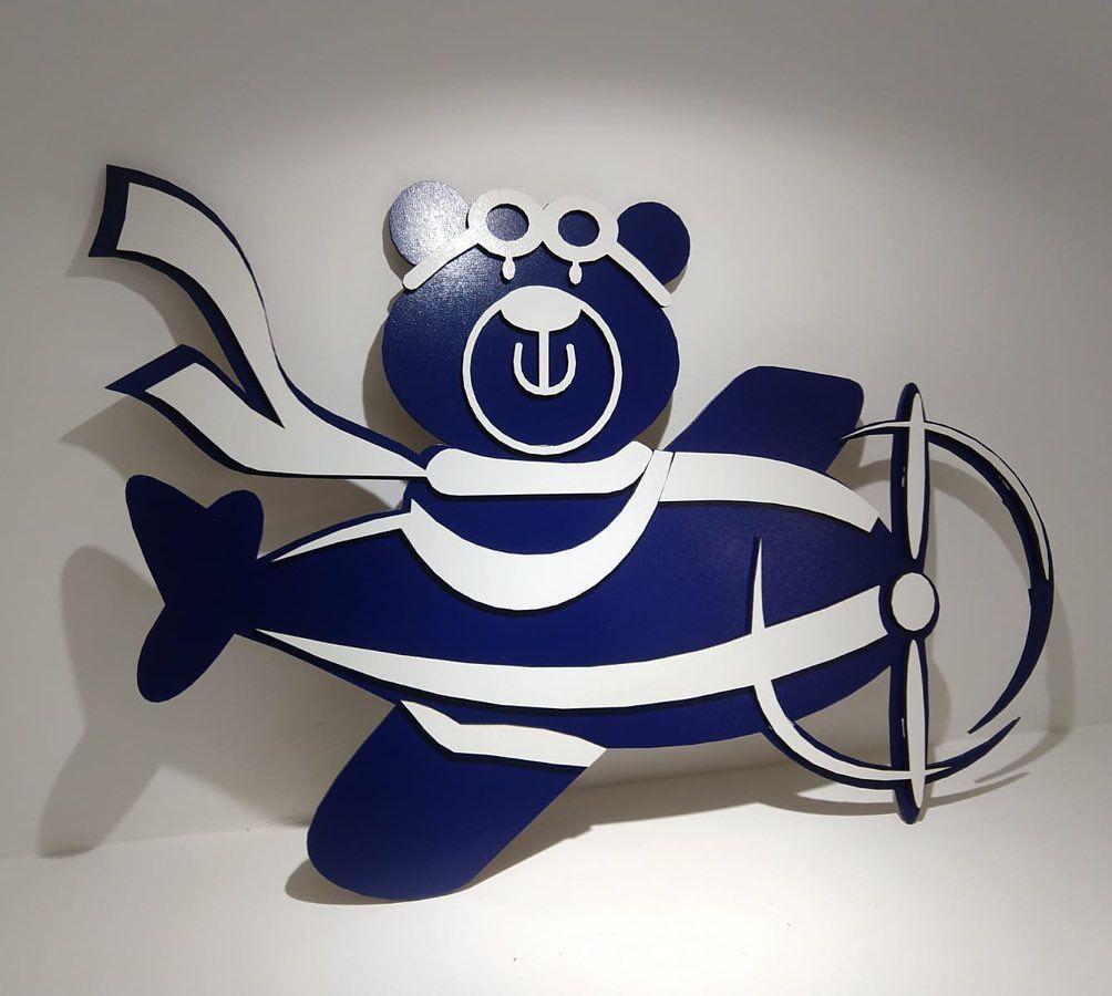 Kit Painel de Parede Completo 20 peças Urso Aviador Azul Marinho