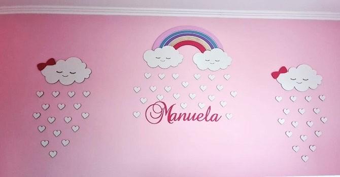 Kit Painel de Parede Completo 45 peças Nuvens Arco Íris Personalizado - Decoração Quarto do Bebê