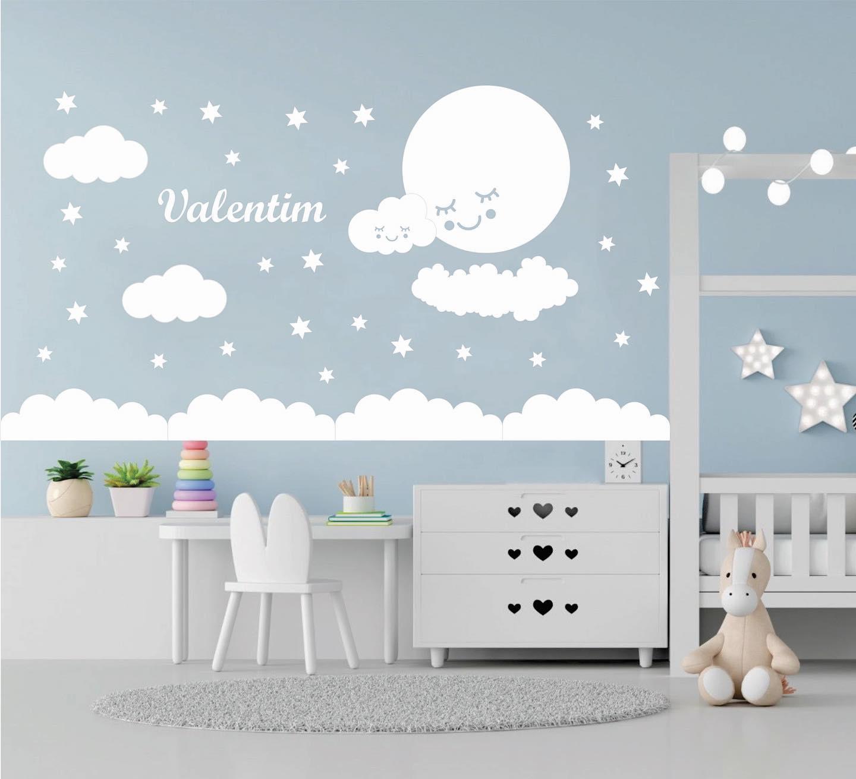 Kit Painel de Parede Completo 45 peças Nuvens Personalizado