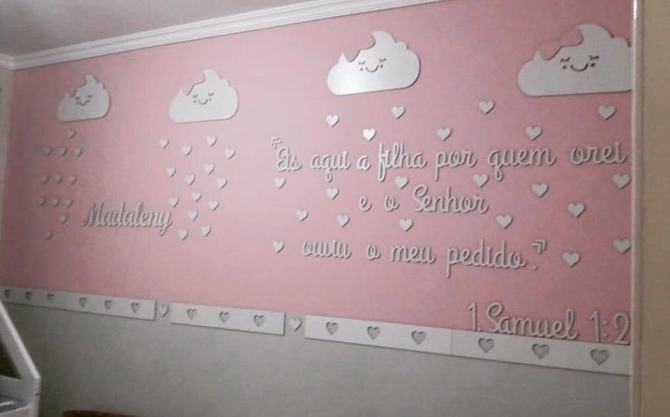 Kit Painel de Parede Completo 48 peças Chuva de Amor Menina - Nome e Lacinhos Coloridos + Frase I Samuel