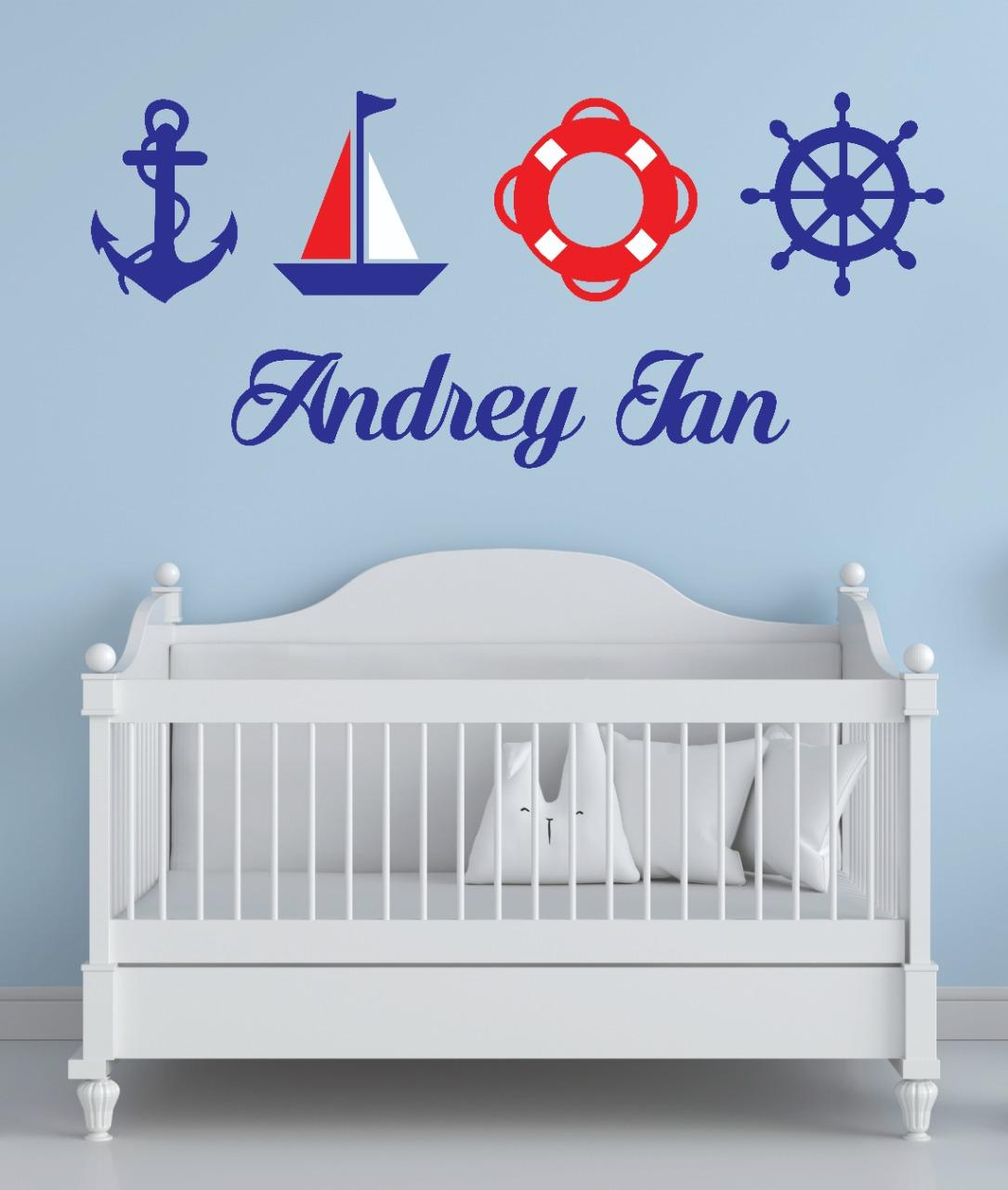 Kit Painel de Parede Completo 5 peças Marinheiro Náutico Personalizado Decoração Quarto do Bebê