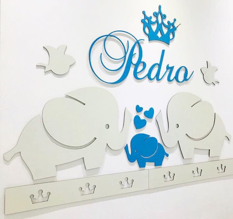 Kit Painel de Parede Completo 16 peças Elefantinhos Menino Personalizado Decoração Quarto do Bebê