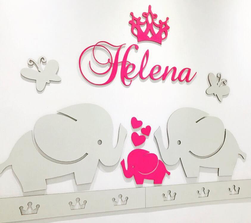 Kit Painel de Parede Completo 16 peças Elefantinhos Personalizado Decoração Quarto do Bebê