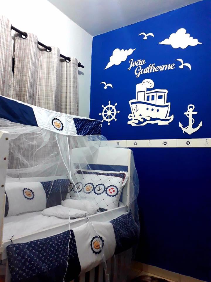 Kit Painel de Parede Completo 13 peças Marinheiro Personalizado Decoração Quarto do Bebê