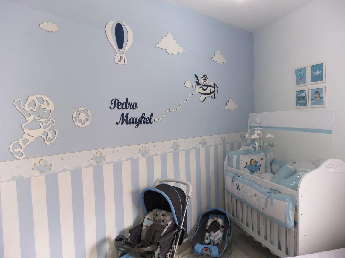 Kit Painel de Parede Completo Menino bola + Urso Aviador 23 peças Personalizado Decoração Quarto do Bebê